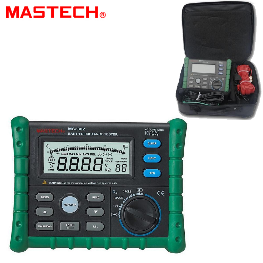 MASTECH MS2302 Digital Earth Ground Resistance Voltage Tester Meter 0ohm to 4K ohm 100 Groups Data Logging Backlight mastech ms2302 digital earth resistance tester meter 100 groups data logging with backlit 0ohm to 4k ohms free shipping