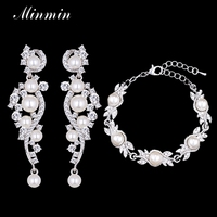 Minmin Simulated Pearl Earrings Bracelet Bridal Jewelry Sets Silver Plated Crystal 2017 Wedding Jewelry For Women