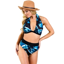 9ac4eee070bfa Summer Bikins Women 2018 New Plus Size Swimwear Print Floral High Waisted Bathing  Suits Swim Halter