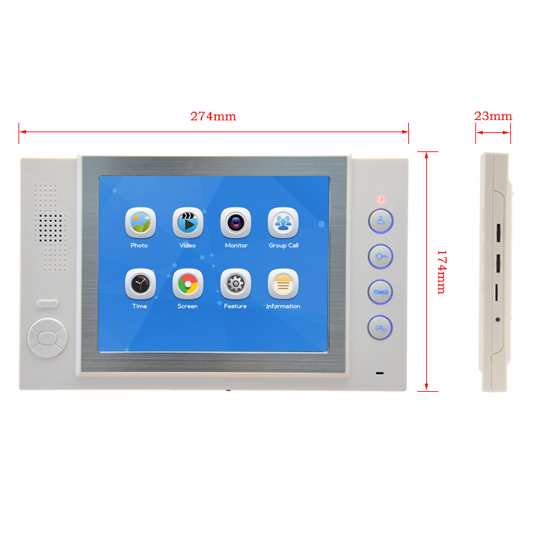 JEX 8 inch video intercom door phone system Only Monitor indoor Unit + Power Adapter FREE SHIPPING 801W jeruan 7 inch video intercom door phone system only monitor indoor unit power adapter free shipping 724