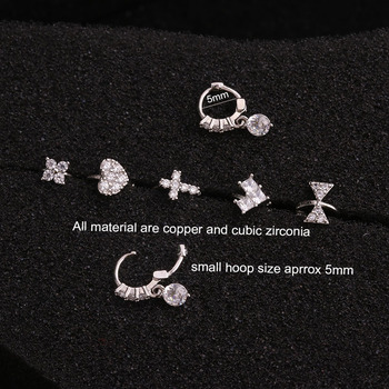 Feelgood New Tiny Cartilage Hoop With Cubic Zirconia Flower Cross Heart Bow Small Tragus Hoop Earring 1