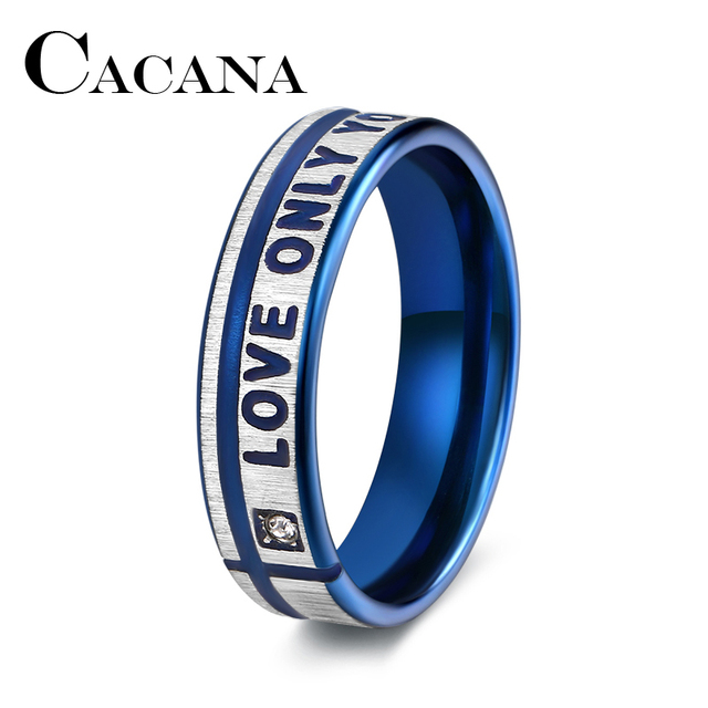CACANA Titanium Stainless Steel Rings Blue Color Engagement Wedding Bridal LOVE