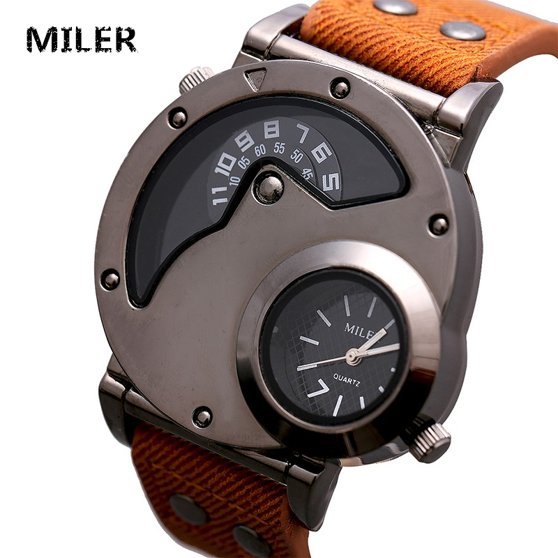 MILER New Punk Style Fashion Watch Men Vintage Leather Strap Double Dial Casual Quartz Wristwatch Retro Clock Relogio Masculino miler vintage fashion watch women retro leather strap world map casual quartz wristwatch ladies creative clock relogio feminino