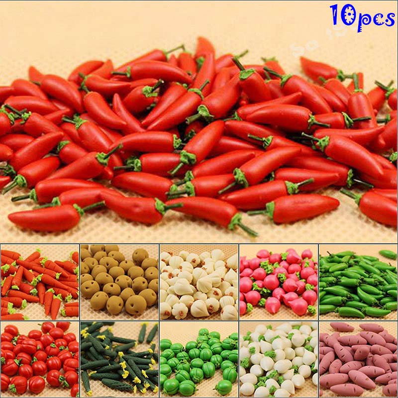 10 Pcs Set 1 12 Miniature Food Vegetable Kitchen Artificial Fake Eggplant Cucumber Radish Home Decor Z340