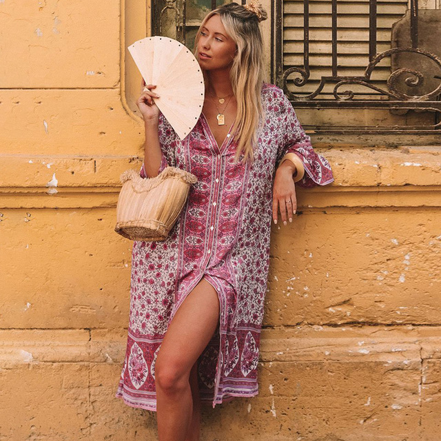 Gypsy Floral Print Dress Boho Button Down Women Dresses Bell Sleeve Autumn Dress Casual Beach Dresses Midi Tunic 2019 V