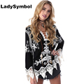 LadySymbol Elegant Lace Up Sexy Women Blouse Shirt Summer 2017 Crochet White Blusas Female Lace Blouses Beach Casual Tops Gi