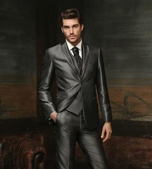 Custom Made Groom Tuxedo Shiny Grey Groomsmen Notch Lapel Wedding/Dinner Suits Best Man Bridegroom (Jacket+Pants+Tie+Vest) B501