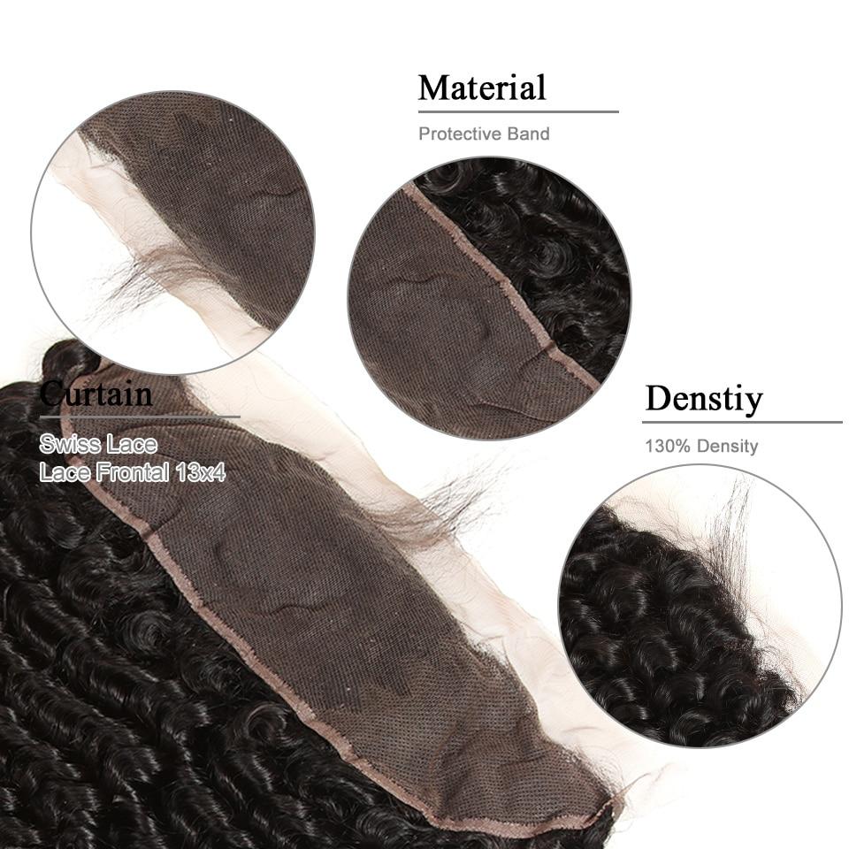 Black Pearl Förfärgade brasilianska Deep Wave Bundles Med Frontal - Mänskligt hår (svart) - Foto 6