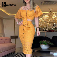 Hollow Out Bell Sleeve Knot Top & Skirt Set 2 Piece Outfits for Women