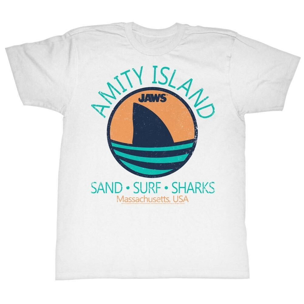 Jaws Tall T-Shirt Amity Island Sand Surf Sharks <font><b>Massachusetts</b></font> White Tee Mans Unique Cotton Short Sleeves O-Neck T Shirt image
