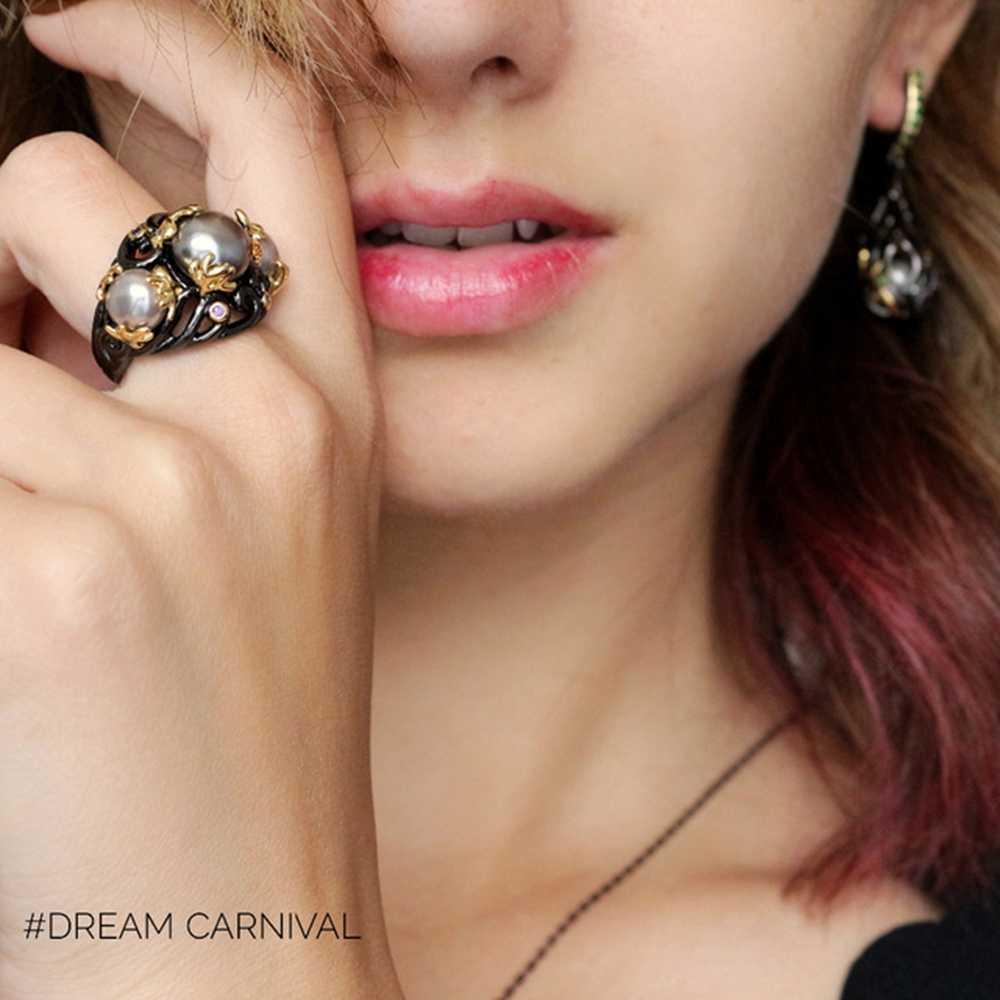 DreamCarnival 1989 Gray Tone Created Pearls Ring for Women Purple CZ Vintage Frauenringe Gothic Mujeres anillo Perla WA11399
