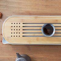 ZEN'S BAMBOO Tea Tray Food Serving Tray Water Storage Chinese Kungfu Tea Set Drinkware