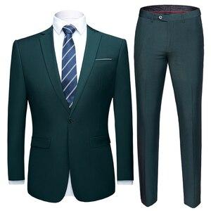 Image 5 - Conjunto de traje de boda de talla asiática para hombre, 2 uds., Blazers, trajes de corte entallado de calidad, traje Formal de negocios, fiesta, azul, clásico, negro