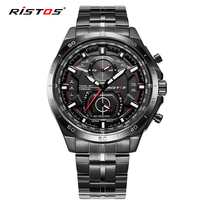 Fashion RISTOS Full Stainless Steel Watch Reloj Masculino Extreme Sports Military 2018 Wristwatch Hombre Men Quartz Watches 9325