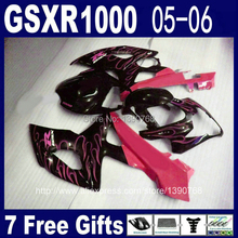 Hot Sale fairing kit for Injection mold SUZUKI GSXR 1000 05 06 K5 GSXR1000 2005 2006 red flames in black fairings set RR51