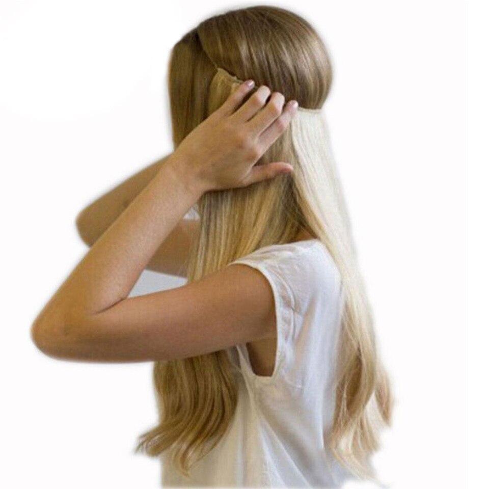 20 inches בלתי נראה חוט אין קליפים בתוספות שיער סוד דגי קו נוכריות משיי ישר אמיתי טבעי סינטטי