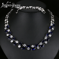 Mona Lisa Blue Stone Necklaces Pendants Multicolor AAA Cubic Zirconia Statement Necklace For Women Wedding Party