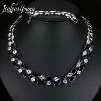 Mona Lisa Blue Stone Dây Chuyền & Mặt Dây Multicolor AAA + Statement Zirconia Cubic Necklace Cho Phụ Nữ Cưới Đảng AN028