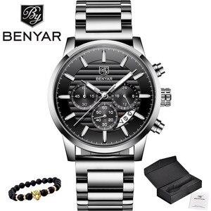 Image 1 - 2020 BENYAR למעלה מותג יוקרה גברים של שעונים מקרית אופנה הכרונוגרף ספורט צבאי קוורץ שעון יד שעון Relogio Masculino