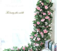 225 CM symulacja jedwabne kwiaty róża sztuczne kwiaty do dekoracji ślubnej domu fałszywy liść DIY wiszące Garland sztuczne kwiaty 1 sztuk tanie tanio MiiSeason Ślub NX0124 Rose Jedwabiu Kwiat Ciąg Artificial rose flower vine length 225cm 88 58inch pink champagne rose white red and purple