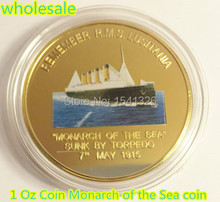 2015 NEW!!! 1 Oz Monarch Coin R.M.S. LUSITANIA of the Sea coin Sample custom DHL free shipping 100 pcs/lot