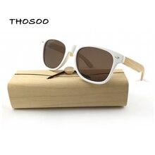 Clásico De Madera Gafas de Sol Hombres Mujeres Marca Diseñador Gafas de Sol de Espejo Gafas de Moda Gafas Gafas de Sol De Bambú THOSOO
