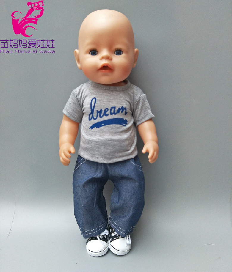 18 Inch 43cm Baby Boy Doll Clothes Grey Shirt and Jeans Pants Set for 18 American Girl Doll Boy Outwear Sets american girl doll clothes ears and tail tiger leopard sets doll clothes with shoes free for 16 18 inch dolls 3 colors mg 262