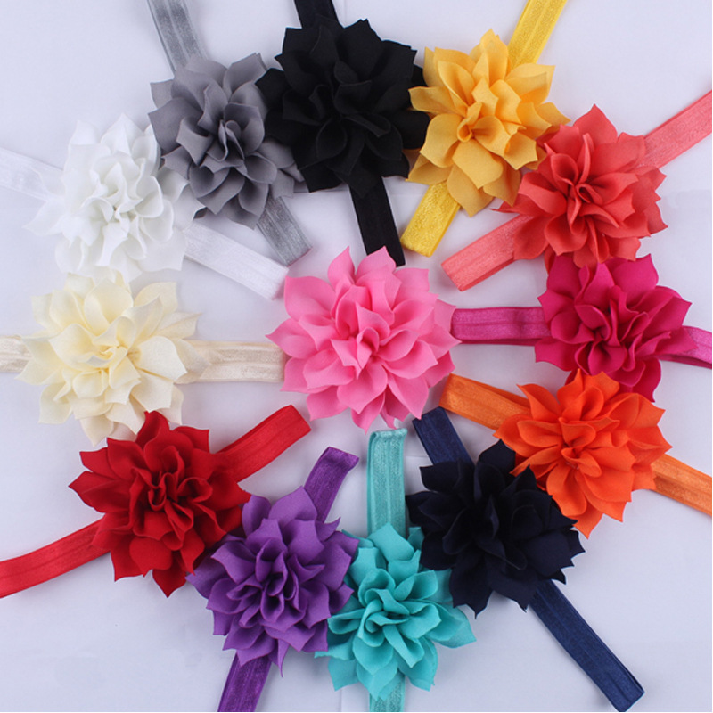13pcs/lot  children child Infant newborn Baby girls accessories lotus flower Toddler elestic Headband Headwear kids HairBand infant hair accessories baby handband chiffon flower headband newborn photography prop girls accessories