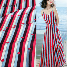 Jane YU High-grade imitation cotton striped wave chiffon printed fabric skirt bohemian dress shirt cloth