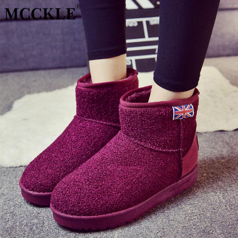 MCCKLE Female Warmer Plush Rubber Winter Suede Slip On Black Fashion Ankle Snow Boots 2017 Woman Platform Comfortable Shoes mcckle women high heels ankle boots female buckle slip on suede shoes woman platform spring autumn casual shoes black size 35 39
