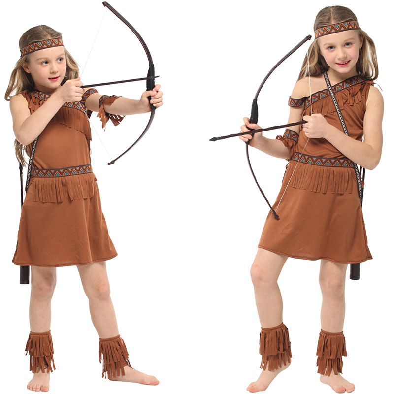 Children American Indian Princess Cosplay Clothes Kids Girls Hunter Dress Costume for Christmas Carnival Halloween Masquerade