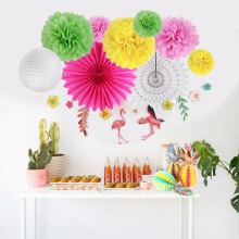 Tropical Hawaiian Party Decorations 12pcs Honeycomb Pineapple Balls Flamingo Birthday Summer Decor Supplies