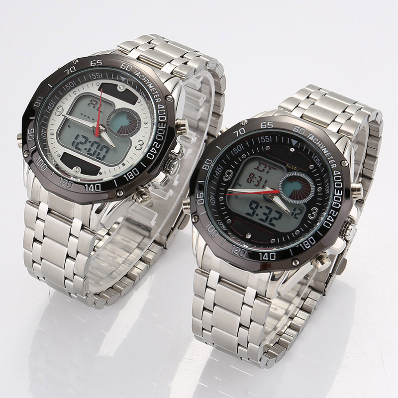 Men Sports Watch Solar LED Dual Display Stainless Steel Strap Analog Digital Wristwatch TT@88