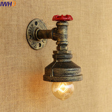 IWHD Loft Style Industrial Wall Light Fixtures Antique Water Pipe Wall Lamp Vintage Sconce Lampara Appliques Pared Murale LED fixture industrial retro rustic loft antique wall lamp edison vintage pipe and brass head wall sconce decorative fixtures light