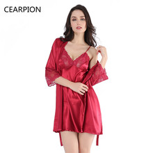 CEARPION Women Satin Short Robe Nightgown Kimono New Lingerie Bathrobe Pajamas Wedding Bride Bridesmaid Sexy Bath