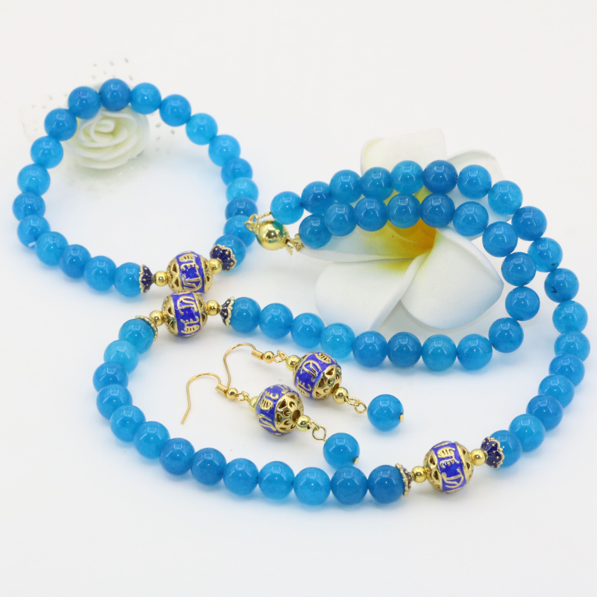 New arrival special design top quality blue aquamarine jasper round beads 8mm necklaces bracelets earrings jewelry set B2682