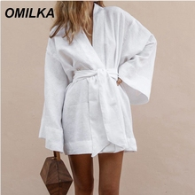 OMILKA 2019 Summer Womens V-Neck Kimono Cardigan Mini Dress White Cotton Linen Loose Long Sleeve Sashes Lace Up Bandage Dresses