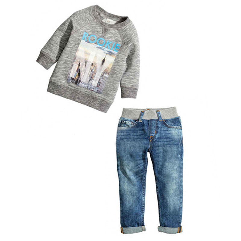 2pcs Infant Toddler Baby Kids Boy Long Sleeved Casual Shirt Sweater Jeans Denim Trousers Outfits infant baby boy kids frist walkers solid shoes toddler soft soled anti slip boots