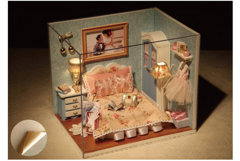 DIY Wooden Doll House Miniature Furniture Toy 3D Handmade Miniaturas Dollhouse Assemble Kit Toys for Birthday Gifts Happy Moment (3)