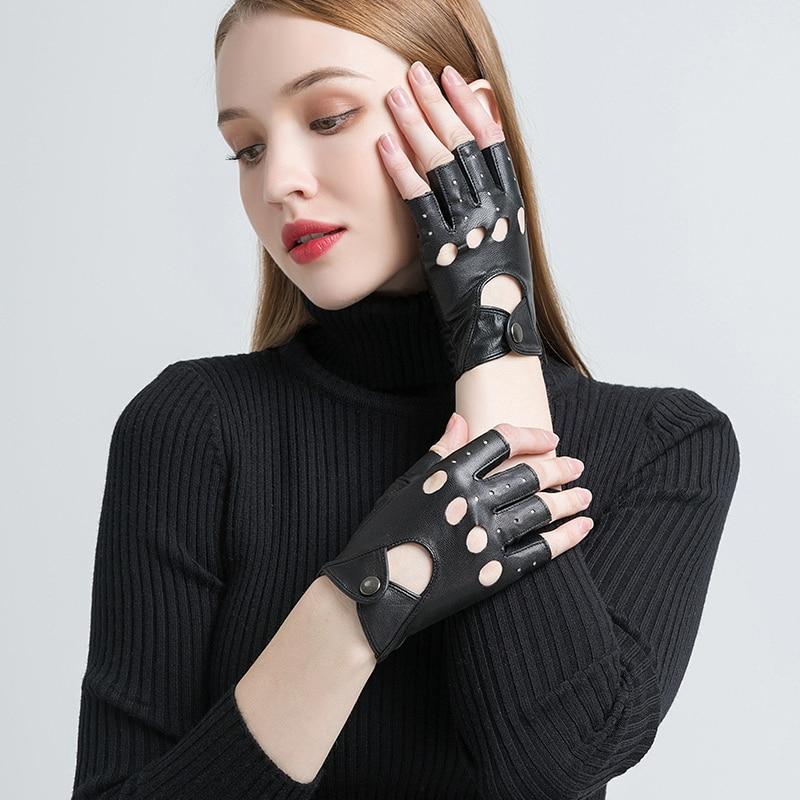 Image 3 - Gours Genuine Leather Gloves for Women Black Fashion Goatskin Fingerless Gloves Winter Half Finger Fitness New Arrival GSL052Womens Gloves   -