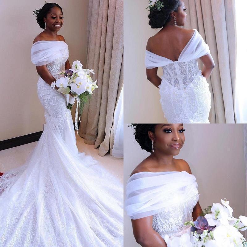 Modest African Mermaid Wedding Dresses 2020  Lace Wedding Gowns Black Girls Women robe de mariee Handmade Bridal Dress