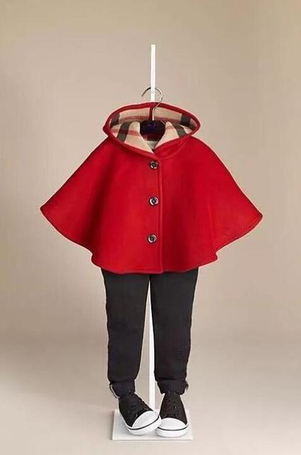 3 Цвета Дети Девушки плащ с капюшоном Теплая шаль Шерстяная ткань пальто Высокого качества дети одежда оптом