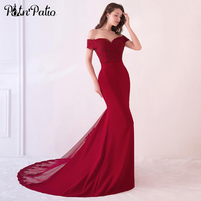 39968de6 Burgundy Mermaid Dresses with Train Elegant Off the Shoulder Backless Lace  Sequin Long Formal Gown 2018 New Evening Party Dress