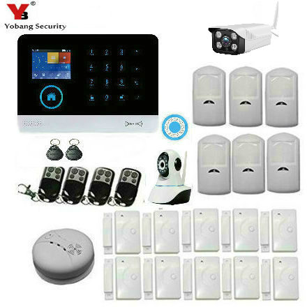 YobangSecurity Wifi Wireless Security Alarm System RFID GSM SMS Android APP Wireless Home Burglar alarm system Outdoor IP Camera yobangsecurity home wifi gsm gprs rfid burglar alarm house business surveillance home security system wireless outdoor ip camera