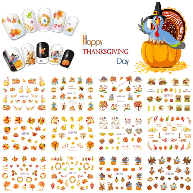 12 Sheets Thanksgiving Day Nail Art Water Transfer Sticker Full Cover Turkey Maple Decals Stickers Wrap Tip Decoration BN361-372