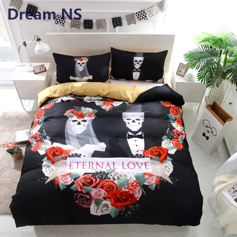 AHSNME New Skull Bedding Set Lovers Bedroom US King Queen Size Black And White with Colorful Skeleton Soft 3D BedlinenAHSNME New Skull Bedding Set Lovers Bedroom US King Queen Size Black And White with Colorful Skeleton Soft 3D Bedlinen