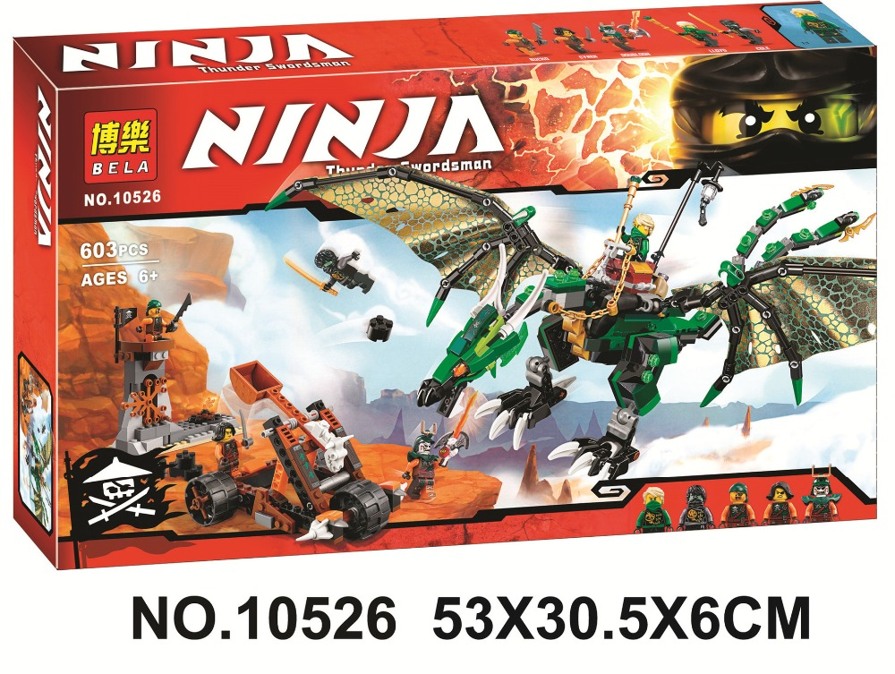 Bela 10526 Ninjagoes Green Dragon Ninja Bricks Toy Minifigures Building Block Minifigure Toys Compatible with font