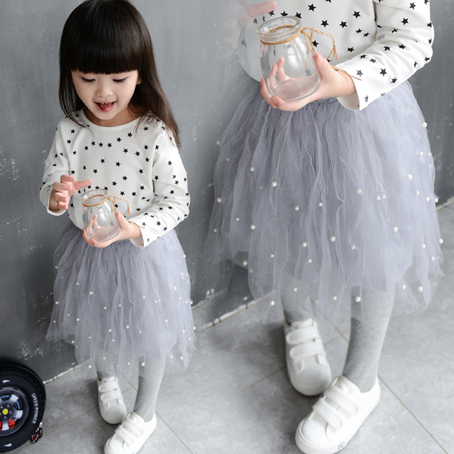 Girl Clothings 2015 Autumn New Children Clothings Baby Girl Pearl Skirts Cute Sweet Kids Girl Skirt