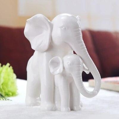 Творческие керамические белый мать и сын слон украшения минималистский современные украшения дома абстрактный фигурка животного