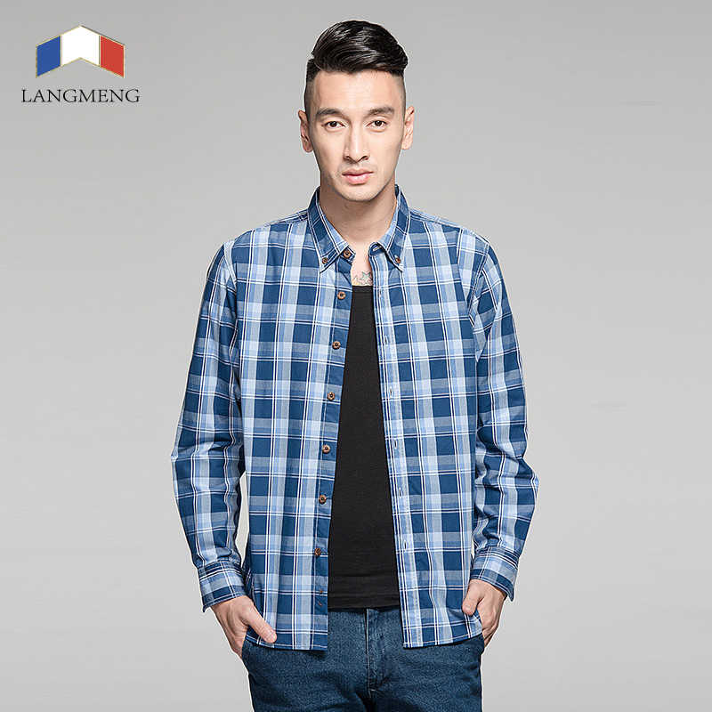 Langmeng 春秋メンズファッション綿 100% ブランド長袖格子縞のシャツの男性レトロスタイルヴィンテージカジュアルシャツ男性